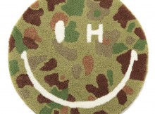 SECOND LAB. SMILE H EYE CAMO ROUND RUG - O.D