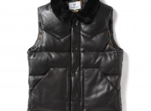 HABANOS-ALL LEATHER DOWN VEST - Black