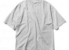 AURALEE-SOFT CORD BIG TEE - Mix Top Gray