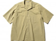 AURALEE-SELVEDGE WEATHER CLOTH OPEN COLLARED HALF SLEEVED SHIRTS - Khaki