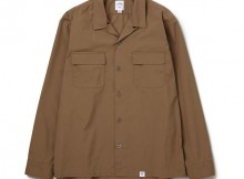 BEDWIN-L:S OPEN COLLAR STRETCH SHIRTS 「ROGERS」 - Camel