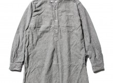 ENGINEERED GARMENTS-Banded Collar Long Shirt - Solid Flannel - H.Grey