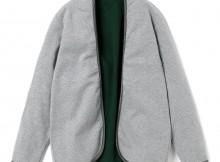 FLISTFIA-Piping Cardigan - Light Gray × Green
