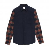 Mr.GENTLEMAN-SLEEVE SWITCHED SHIRT - Navy × Navy Red