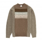 Mr.GENTLEMAN-FISHERMAN MIX NORDIC KNIT - Beige × Greige