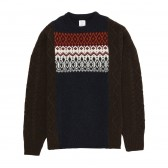 Mr.GENTLEMAN-FISHERMAN MIX NORDIC KNIT - Navy × Brown