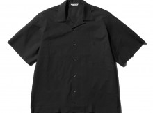AURALEE-SELVEDGE WEATHER CLOTH OPEN COLLARED HALF SLEEVED SHIRTS - Ink Black