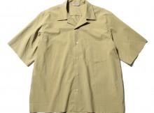 AURALEE-SELVEDGE WEATHER CLOTH OPEN COLLARED HALF SLEEVED SHIRTS - Khaki