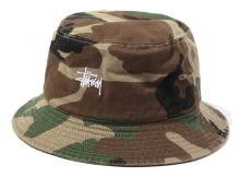 STUSSY-Kids Classic Logo Bucket Hat - Camo
