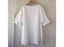 COMOLI-ボートネック 半袖シャツ - White