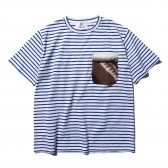 HABANOS-BOA-POCKET BORDER S:SL Tee - Blue