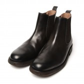 LEATHER &; SILVER MOTO-SIDE GORE BOOTS #1641 - Black