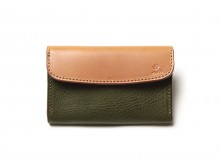 LEATHER & SILVER MOTO-被せ Card Case Combi CA2 - Green