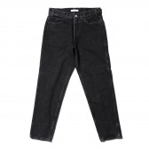 Living Concept-5POCKET TAPERED DENIM PANTS : BLACK BIO WASH - Black
