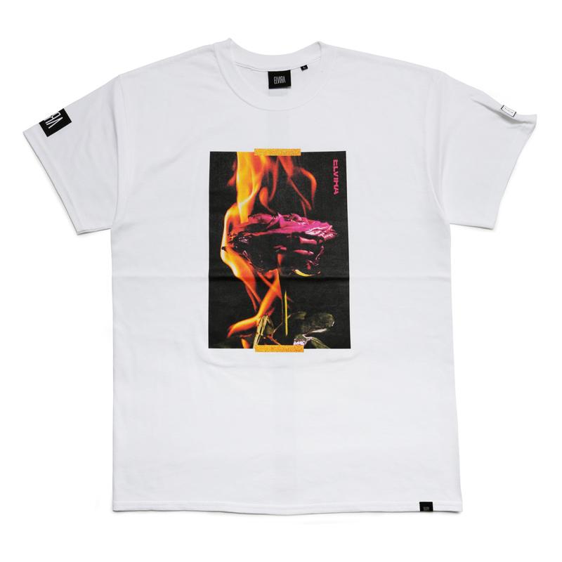 BURNING ROSE T-SHIRT - White
