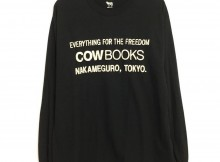 COW BOOKS-Longsleeve T-shirts (Logo) - Black × Ivory