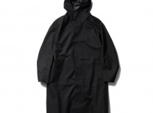 DESCENTE PAUSE-WOOL MIX OVER FOODED COAT - Black