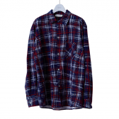 NEON SIGN-FLANNEL SHIRT UNIVERSAL CHECK - Navy