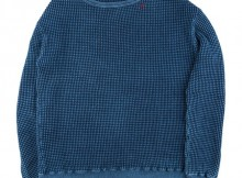 Porter Classic-FRENCH THERMAL CREWNECK - Blue