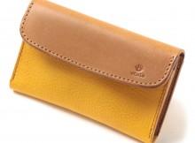 LEATHER & SILVER MOTO-被せ Card Case Combi CA2 - Yellow