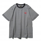 Needles-S:S Papillon Emb. Tee - Cotton Jersey : Stripe - Off White