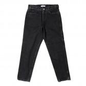 Living Concept-5POCKET TAPERED DENIM PANTS : BLACK BIO WASH - Black