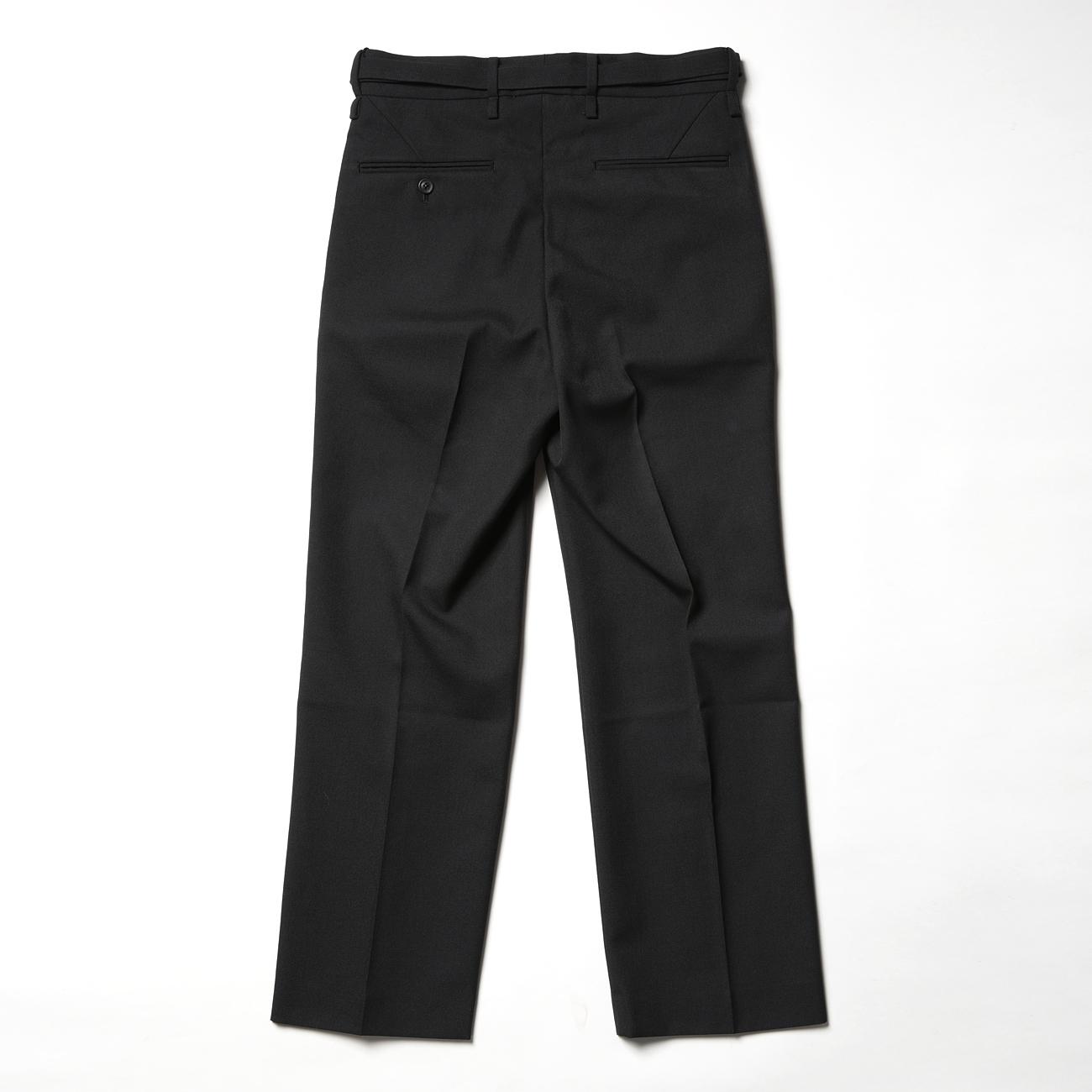 URU TOKYO - STRAIGHT PANTS / WOOL SERGE - Black