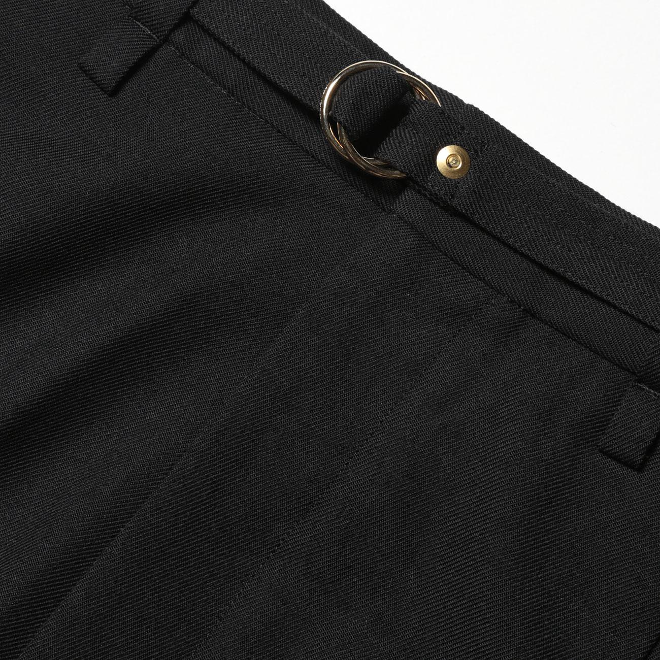 URU TOKYO - 1 TUCK PANTS / WOOL SERGE - Black