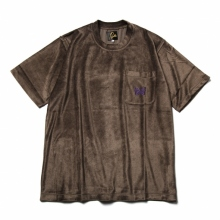 Needles / ニードルズ | S/S Papillon Emb. Pocket Tee - R/Pe/C/S Velour - Brown