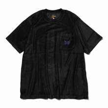 Needles / ニードルズ | S/S Papillon Emb. Pocket Tee - R/Pe/C/S Velour - Black