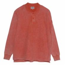 C.E / シーイー | BLEACHED RIB LONG SLEEVE POLO SHIRTS - Orange
