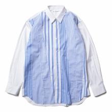 COMME des GARÇONS SHIRT | cotton poplin plain with yarn dyed cotton stripe poplin - White / Stripe
