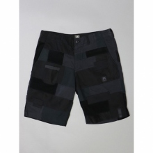 ....... RESEARCH | Patched Shorts - Black Cotton - Black