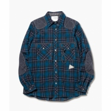 and wander / アンドワンダー | wool check shirt (M) - Green