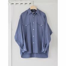 COMOLI / コモリ | ヨリ杢 ワークシャツ - Blue