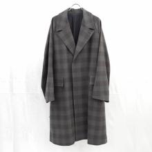 URU / ウル | WOOL CHECK BELTED COAT - Gray