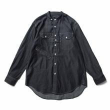ENGINEERED GARMENTS / エンジニアドガーメンツ | Banded Collar Shirt - Denim Twill Shirting - Indigo