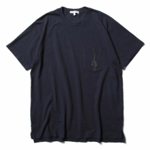 ENGINEERED GARMENTS / エンジニアドガーメンツ | Printed Cross Crew Neck T-shirt - 1G - Navy