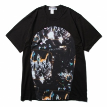 COMME des GARONS SHIRT | cotton jersey plain with cotton jersey with futura print - Black/Print A_1