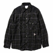 and wander / アンドワンダー | wool check shirt (M) - Black