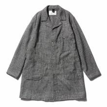 ....... RESEARCH | Long Jacket - Wool Glencheck - White × Black