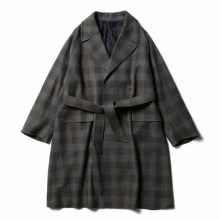 URU / ウル   WOOL CHECK BELTED COAT - Gray