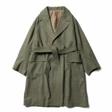 URU / ウル   WOOL CHECK BELTED COAT - Green