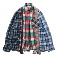 Rebuild by Needles / リビルド バイ ニードルズ | Flannel Shirt -> 7 Cuts Shirt - Sサイズ