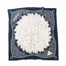 and wander / アンドワンダー | star chart printed big bandanna - Navy
