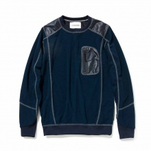 and wander / アンドワンダー | mixed pile pullover - Navy