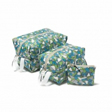 and wander / アンドワンダー | geometric printed stuff sack set - L.Blue