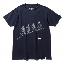 and wander / アンドワンダー | quarted printed T by Yu nagaba - Navy