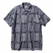 ENGINEERED GARMENTS / エンジニアドガーメンツ | Camp Shirt - Afghan Print - Nvy/Wht