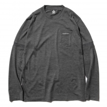 ....... RESEARCH | Pocket Tee L/S - ウール天竺 - C.Gray ☆